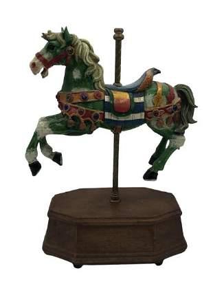 "VINTAGE SAIBA CAROUSEL HORSE MUSIC BOX 9.5"" HIGH"