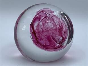 "VINTAGE FUSHIA & CLEAR ART GLASS PAPERWEIGHT 3.5"""