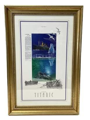"ANTONIO GAWA ""TITANIC"" MIXED MEDIA PRINT ART 31.5"""