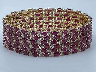RUBY, DIAMOND & FOURTEEN KARAT GOLD BRACELET