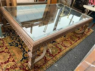 LARGE WOOD CARVED COFFEE TABLE