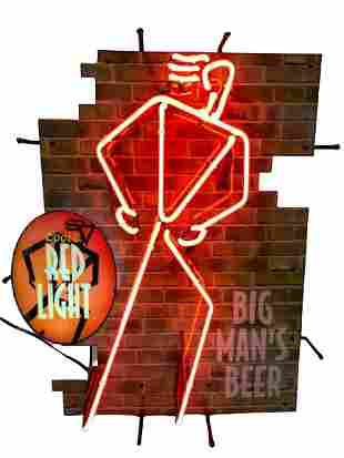 COORS RED LIGHT BEER ADVERTISING NEON LIGHT
