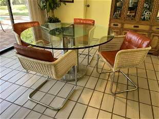 SET OF 4 MARCEL BREUER STYLE MID CENTURY CHAIRS