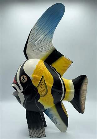 VINTAGE BOBBO 1991 CARVED FISH SCULPTURE