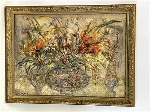 "E. HIBEL FLORAL STILL LIFE ARTIST PROOF CANVAS 26"""