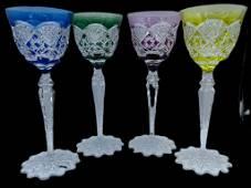 4 VTG ROEMER WINE CRYSTAL GLASSES VAL ST LAMBERT