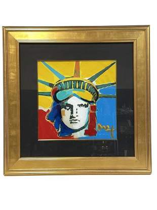 """PETER MAX """"LIBERTY HEAD"""" ACRYLIC ON PAPER 1/1"""