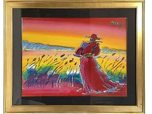 """PETER MAX """" WALKING IN REEDS"""" ACRYLIC ON PAPER 1/1"""