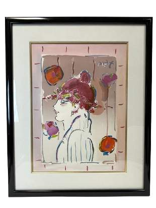 """PETER MAX """"GIRL FROM IBIZA"""" ACRYLIC ON PAPER"""