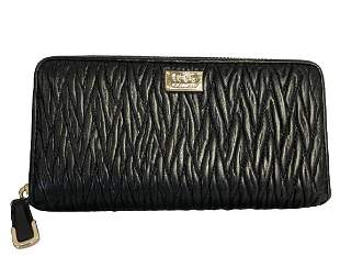 VINTAGE COACH PLEATED BLACK LEATHER WALLET