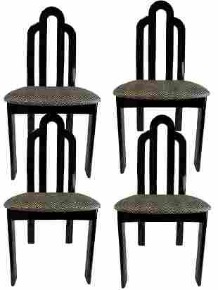 4 VINTAGE MODERN BLACK LACQUER DINING CHAIRS