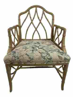 MID CENTURY FAUX BAMBOO CHIPPENDALE CHINESE CHAIR