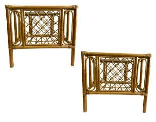 PAIR OF MID CENTURY BAMBOO RATTAN END TABLES