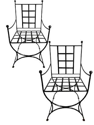 """PAIR OF IRON CHAIRS MANNER OF GIACOMETTI 40"""""""
