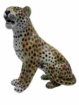 CERAMIC LEOPARD SIGNED AND NUMBERED ITALY