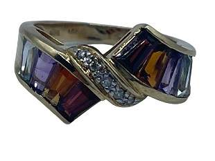 MULTI-COLOR GEMSTONE, DIAMOND AND 14 K GOLD RING
