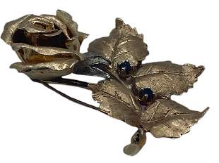 14 K GOLD AND SAPHIRE ROSE BROOCH