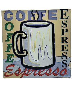 "STEVE KAUFMAN ""COFFEE"" SILK SCREEN ON CANVAS 20"""