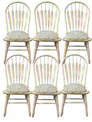 SET OF 6 FRENCH FARMHOUSE STYLE WOOD DINING CHAIRS