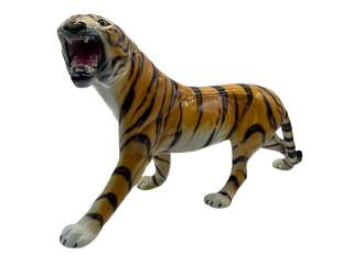 CERAMIC TIGER STATUE MSIGNED MADE IN ITALY