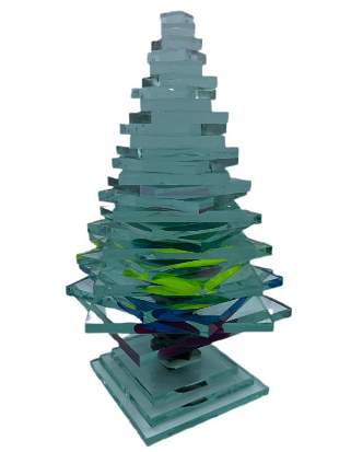 COLORFUL ART GLASS CHRISTMAS TREE SCULPTURE