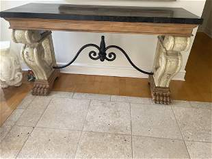 TUSCAN INSPIRED MARBLE TOP CONSOLE TABLE