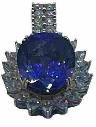 STUNNING TANZENITE, DIAMOND 18K GOLD PENDANT