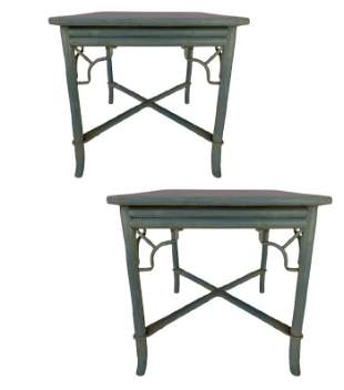 """PAIR OF REGENCY STYLE BAMBOO END TABLES 27.5"""""""