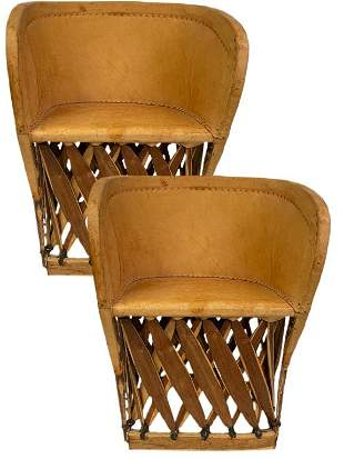 PAIR OF VINTAGE MEXICAN EQUIPALE BARRELL CHAIRS