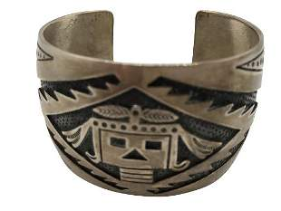"""VINTAGE AZTEC-INSPIRED STERLING CUFF 1.5"""" WIDE"""