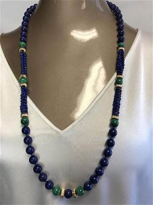VINTAGE LAPIS, JADE AND GOLD BEADED NECKLACE