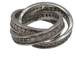 VTG STERLING SILVER CARTIER TRINITY STYLE RING