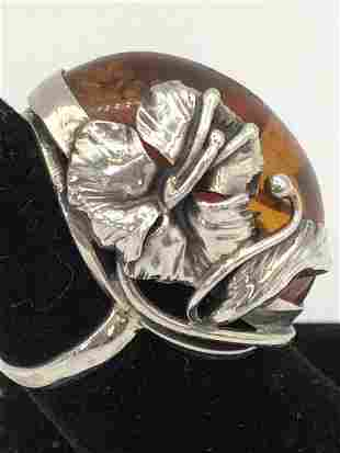VINTAGE SILVER & AMBER CHUNKY RING SIZE 6