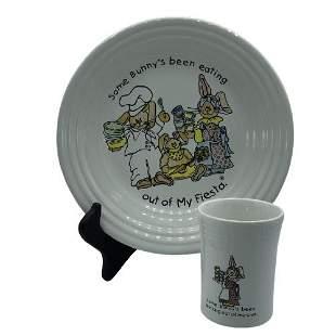 VINTAGE FIESTA WARE CERAMIC BUNNY PLATE & CUP