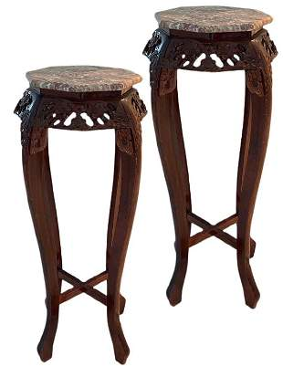 PR VTG CHINESE HAND CARVED WOOD MARBLE TOP TABLE