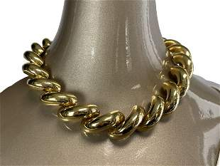 CHUNKY GOLD LINK FASHION STATEMENT NECKLACE