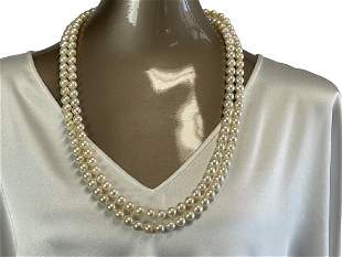VTG DOUBLE STRAND PEARL NECKLACE W/ SILVER CLASP