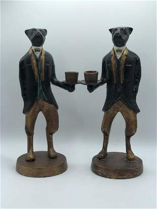 PAIR OF VINTAGE METAL DOGS IN TUXEDOS CANDLESTICKS