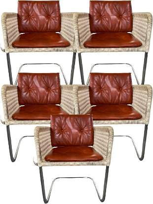 5 HARVEY PROBBER WICKER & CHROME CANTILEVER CHAIRS