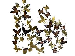 """PAIR OF CURTIS JERE BUTTERFLY WALL SCULPTURES 27"""""""