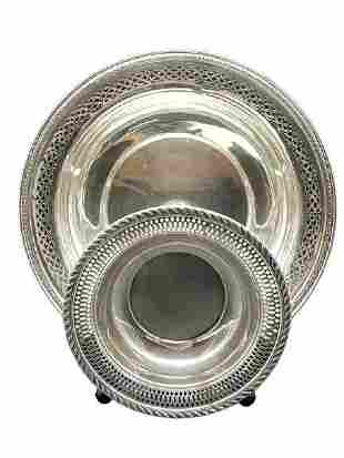 PAIR OF VINTAGE STERLING SILVER TRAY PLATES 250 G