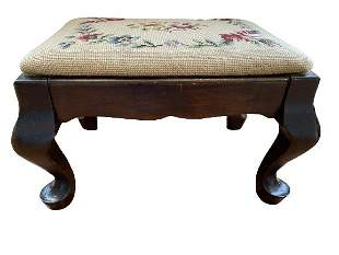 """ANTIQUE EMBROIDERED FOOT STOOL 17"""""""