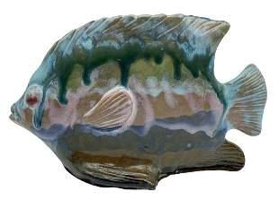 """MID CENTURY CERAMIC GLAZED FISH SCULPTURE 10"""""""