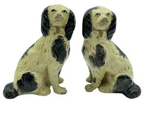 1930S STYLE BORGHESE STAFFORDSHIRE DOG BOOKENDS