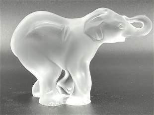 """LALIQUE ART GLASS ELEPHANT SCULPTURE 4.5"""""""