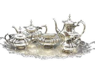 VINTAGE 6 PIECE DECO STYLE SILVER PLATED TEA SET