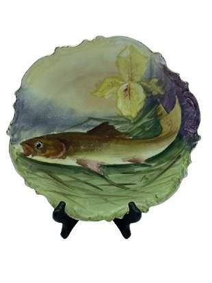 "VINTAGE LOBC LIMOGES HAND PAINTED FISH PLATE 11"""