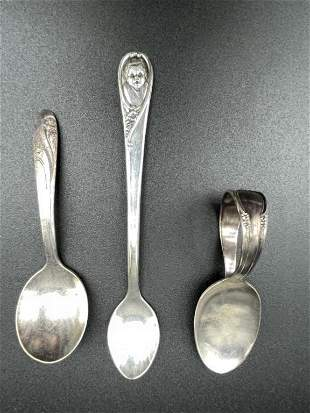 SET OF 3 ANTIQUE STYLE VINTAGE BABY SPOONS