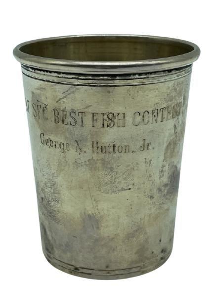 "VINTAGE STERLING SILVER ""BEST FISH"" TROPHY CUP 3"""
