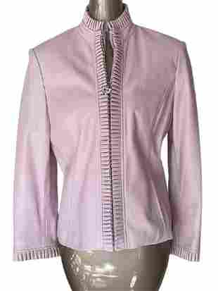 ST JOHN SPORT BY MARIE GRAY PINK LEATHER JACKET